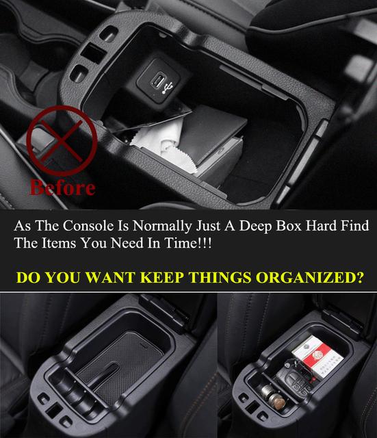 Para Jeep Compass 2018 2019 2017 soporte de caja de almacenamiento de reposabrazos contenedor guante organizador brújula coche accesorios interiores 2 piezas