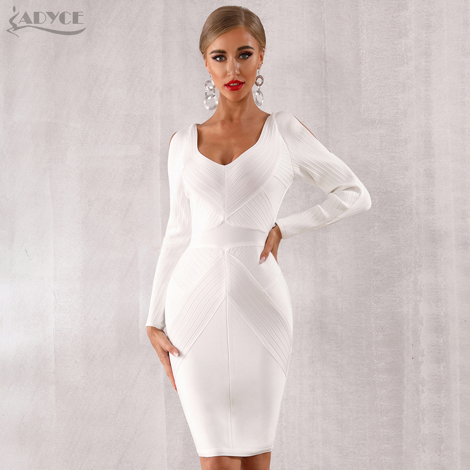 Adyce 2019 New Winter White Bodycon Bandage Dress Women Long Sleeve Hollow Out Club Dress Vestidos Celebrity Evening Party Dress