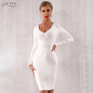 Image 1 - Adyce 2020 novo outono branco bodycon bandage vestido feminino manga longa oco para fora do clube vestidos celebridade noite vestido de festa