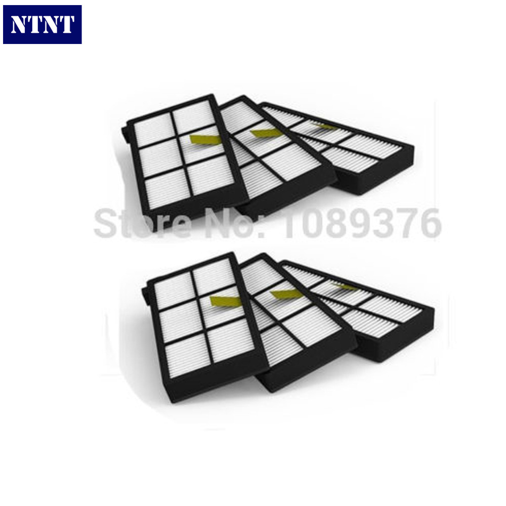 NTNT Free Post shipping New 6 x HEPA Filter filters For irobot Roomba 800 series 870 880 ntnt free post shipping 6 pcs hepa filter parts kit for irobot roomba 800 series 870 880 vacuum cleaner
