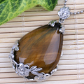 Tiger Eye Stone Gem stone TEARDROP Flower pattern PENDANT BEAD FOR NECKLACE