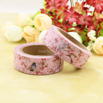1pcs pink Clubs Flower, birds  Washi Tape Floral Masking Tapes Decorative Stickers Diary Deco Scrapbooking Sticker 4cm flower falls kawaii deco adhesive paper floral masking washi tape stickers scrapbooking office decoration cute stationary