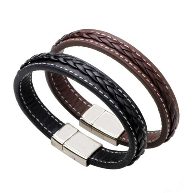 HOT Top Quality Genuine Leather Bracelet Men Stainless Steel Leather ...