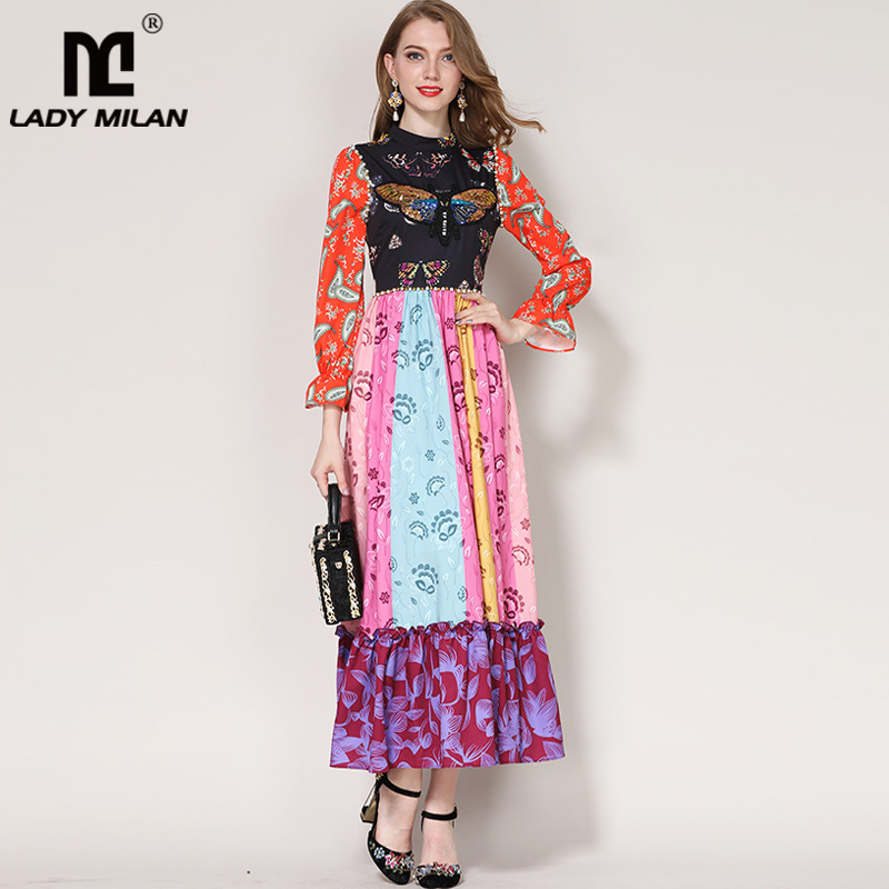 Lady Milan 2018 Womens O Neck Long Sleeves Beaded Floral Printed Patchwork Ruffles Elegant Maxi Designer Casual Dresses