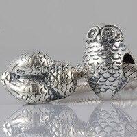 1PCS Lot Fashion 925 Sterling Silver Owl Charm Beads Fits European Pandora Style Bracelets Jewelry