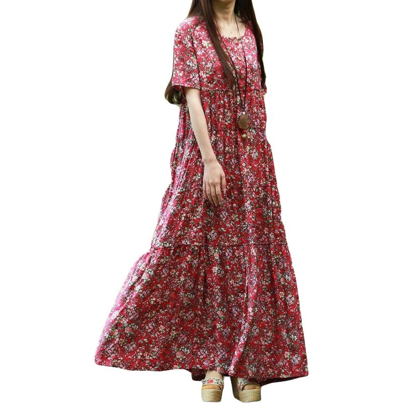 Plus Size Women Clothing Pure Robe Longue Femme Women Plus Size Tea Dress Vintage O-neck Maxi Dress Robe Chinoise Vestidos