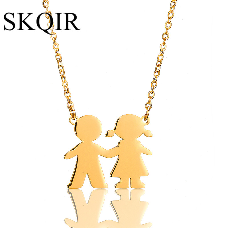 SKQIR Gold Lovers Couple Pendant Necklaces Fashion 2017 Boys Girls Couple Necklaces Jewelry For Women Stainless Steel Chain
