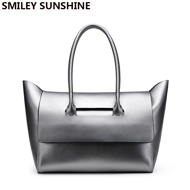SMILEY SUNSHYINE brand genuine leather bag female large shoulder bags for women 2017 big luxury famous women leahter handbags