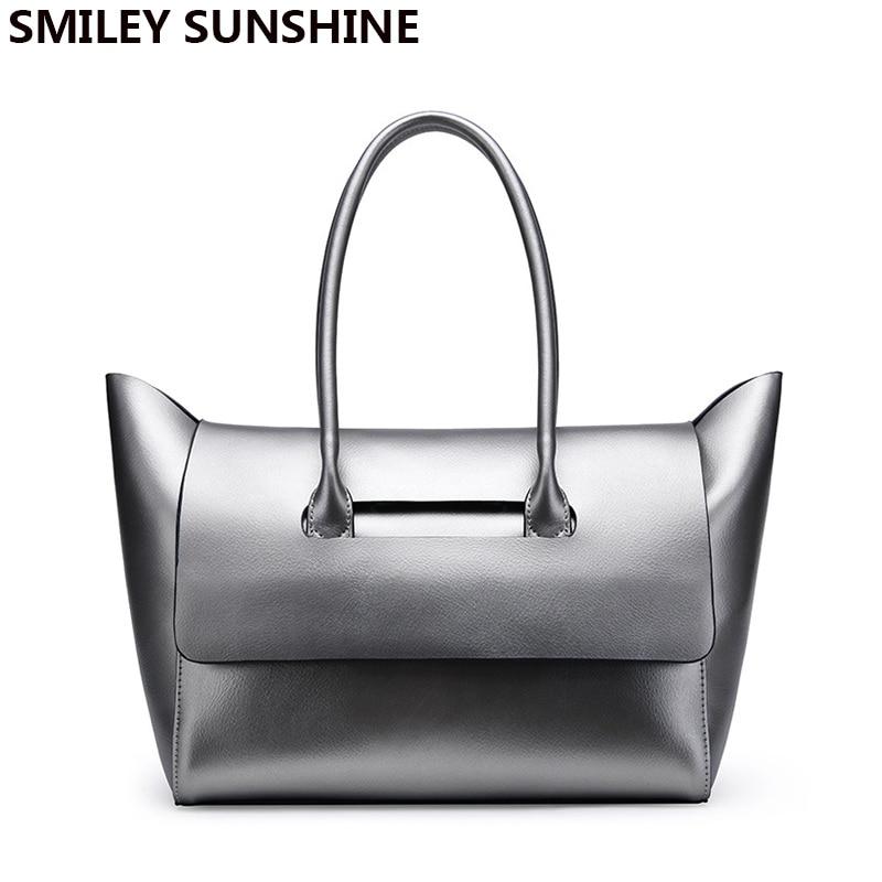 SMILEY SUNSHYINE brand genuine leather bag female large shoulder bags for women 2017 big luxury famous women leahter handbags
