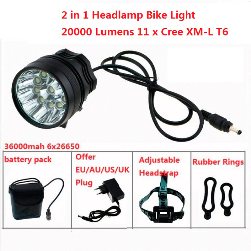 все цены на 2 in 1 Headlamp Headlight 20000 Lumens 11 x Cree XM-L T6 LED Bicycle Light Cycling Bike Head Lamp + 18650 Battery Pack + Charger