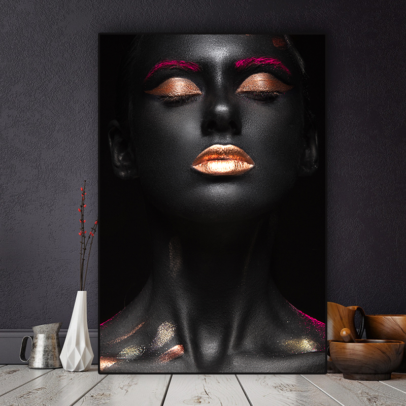 Golden Lip Fashion Stretched Canvas Print Framed Home Wall Art Office Decor Gift