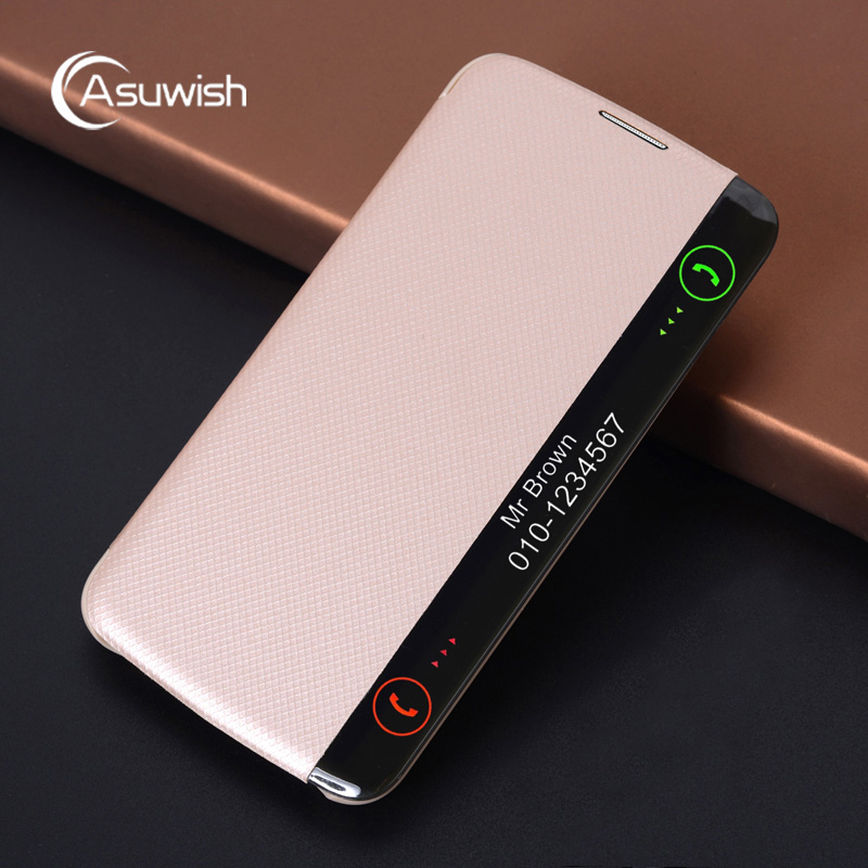 Asuwish For LG K10 LTE Leather Case Smart View Auto Sleep Wake Flip Cover Luxury Phone