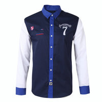 Faconnable Brand Excellent Shirt Men Emboride Clothes Long Sleeve Shirt High Quality Patchwork Cotton Casual oxford Shirts