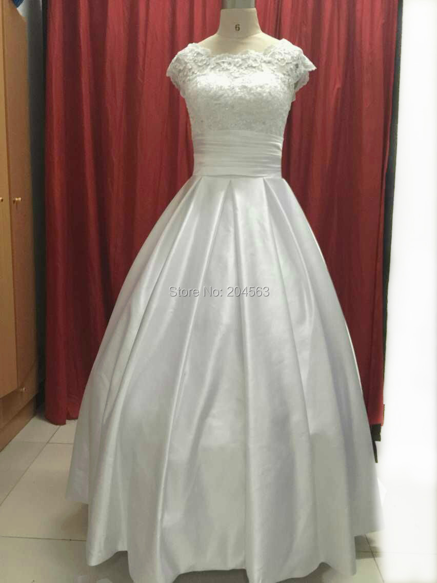 Hot Sale Real Picture In Stock A Line Satin Princess Wedding Dress with Cap Sleeves