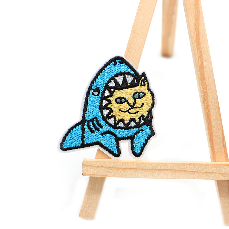 100pcs lot Despise Cat Shark Embroidery Patches For Clothes Iron on Patch Bag Applique Armband Stickers
