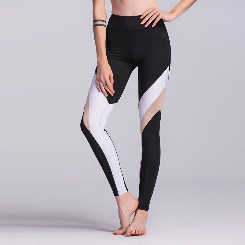 JIGERJOGER White Nude Color Contrast Heart Hip Yoga Pants