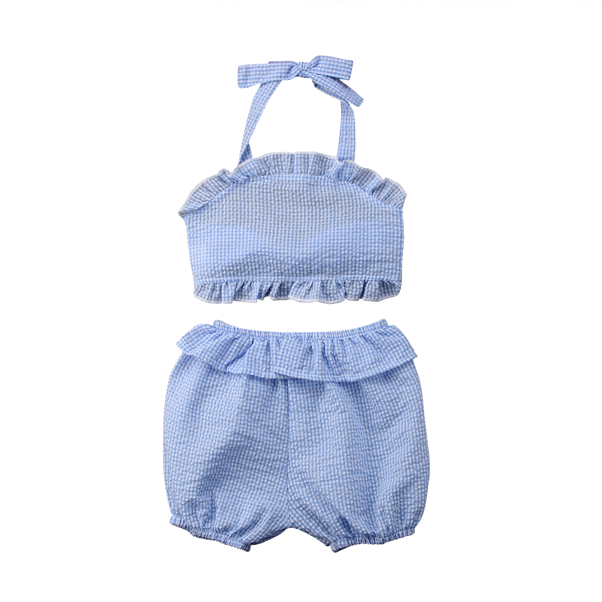 Soft Cotton 2Pcs Kids Baby Girl Wathet Plaid Sleeveless Backless Bow Tops + Short Pants Outfits Clothes Summer