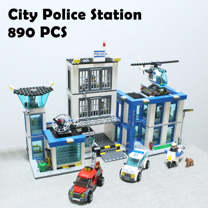 Bela 10424 City Police Station motorbike helicopter Model building kits compatible with lego city 60047 blocks Educational toys bela 10424 890pcs city police station building blocks action figures set helicopter jail cell compatible