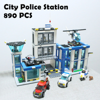 Bela City Police Station Motorbike Helicopter Model Building Kits Compatible With Lego City 3D Blocks Educational