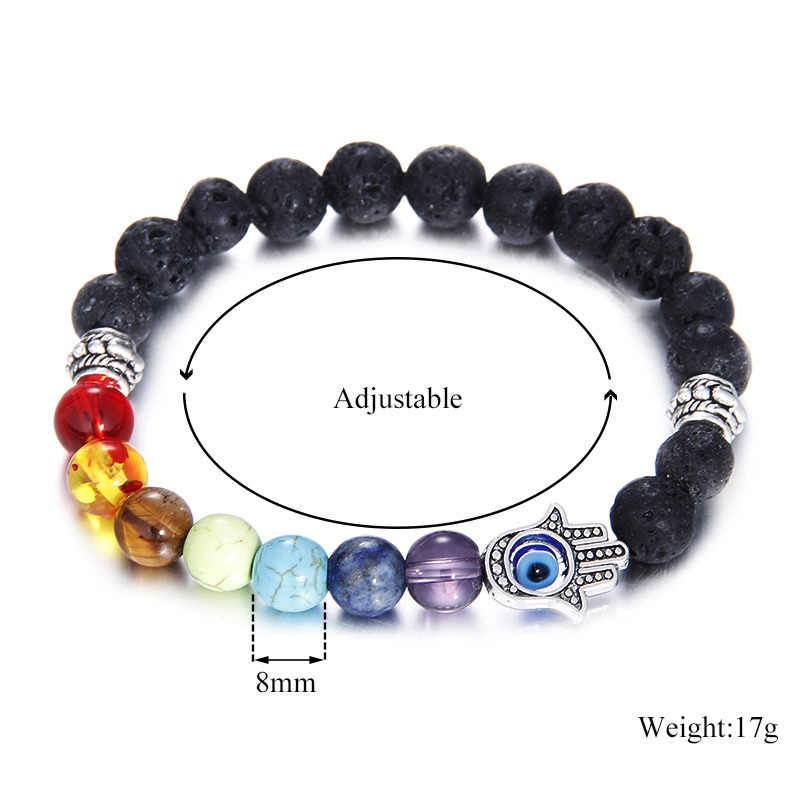 Hamsa Hand Charm 7 Chakras Bracelets For Women 2019 Black Lava Natural Stone Bead Bracelet Healing Balance Beads Stone Bracelet