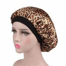 1pc Leopard Hair Drying Women Satin Night Sleep Hat Hair Bon