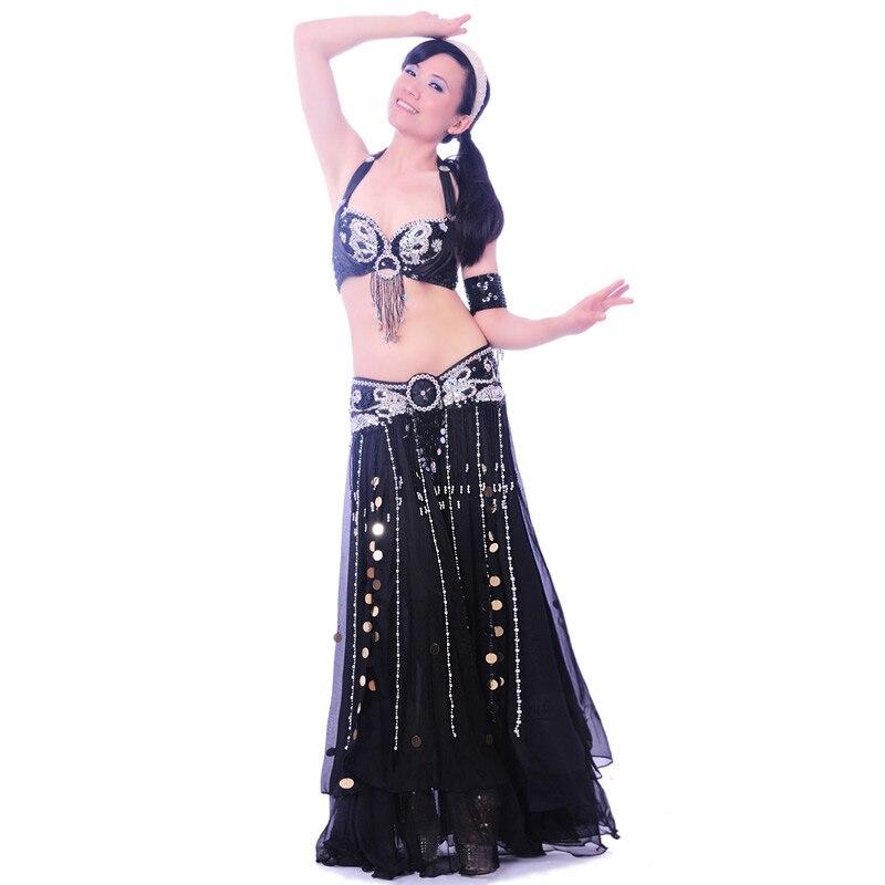 Nouveau paillettes jupe Top danse du ventre Costume chaud Sexy Bellydance robe ensemble Bellydance vêtements Performance Costume: soutien-gorge et ceinture et jupe