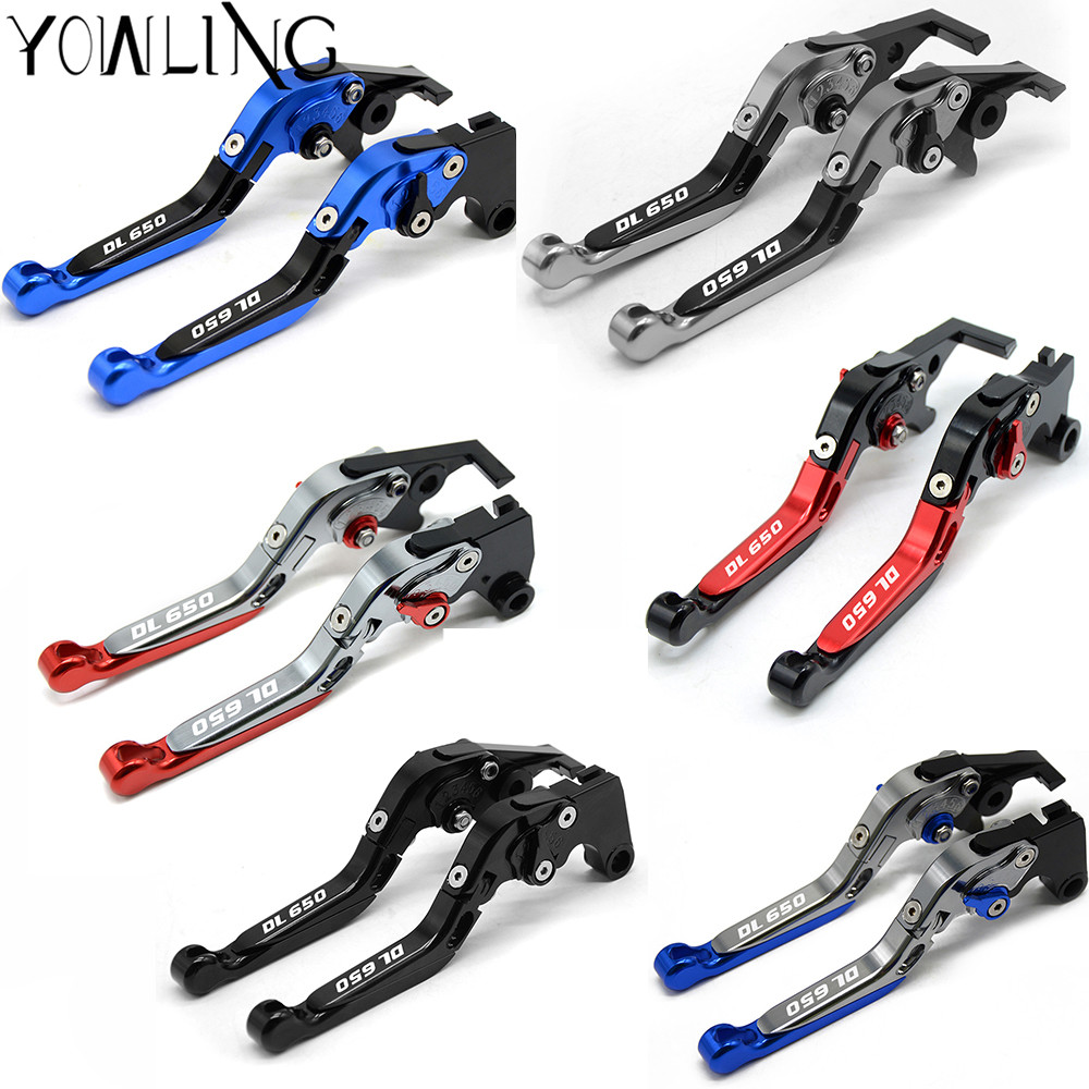 With Logo CNC Motorcycle folding Adjustable Extendable Brake Clutch Levers For Suzuki V-Strom DL650 DL 650 V Strom 2011 2012 motocycle accessories for suzuki dl 650 v strom 2012 2015 short brake clutch levers black