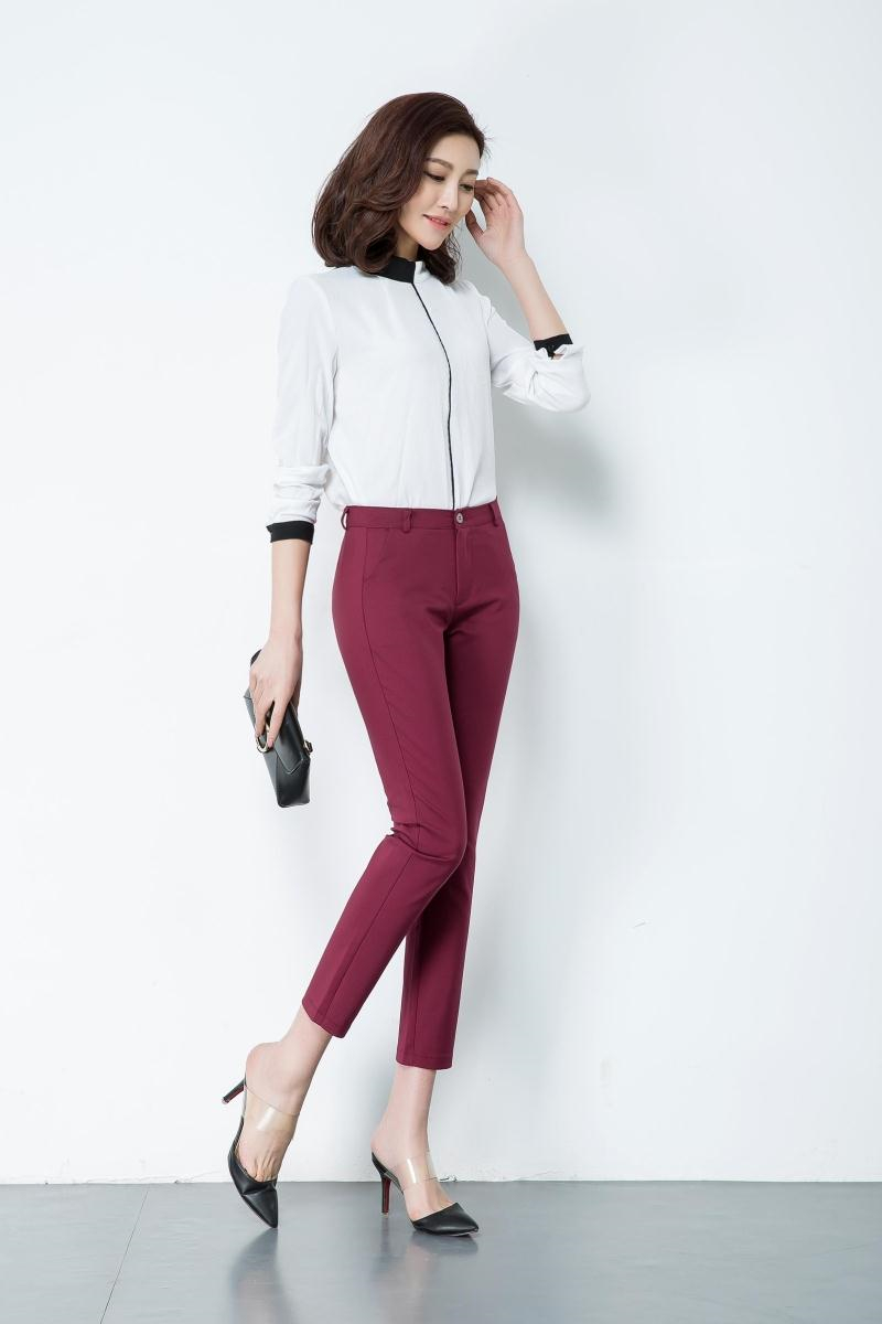 Casual Trousers Women 95% Cotton Elastic Slim Skinny Pants femal Spring Street Wear Pencil Pants Ladys Elegant Office Work Pant 5