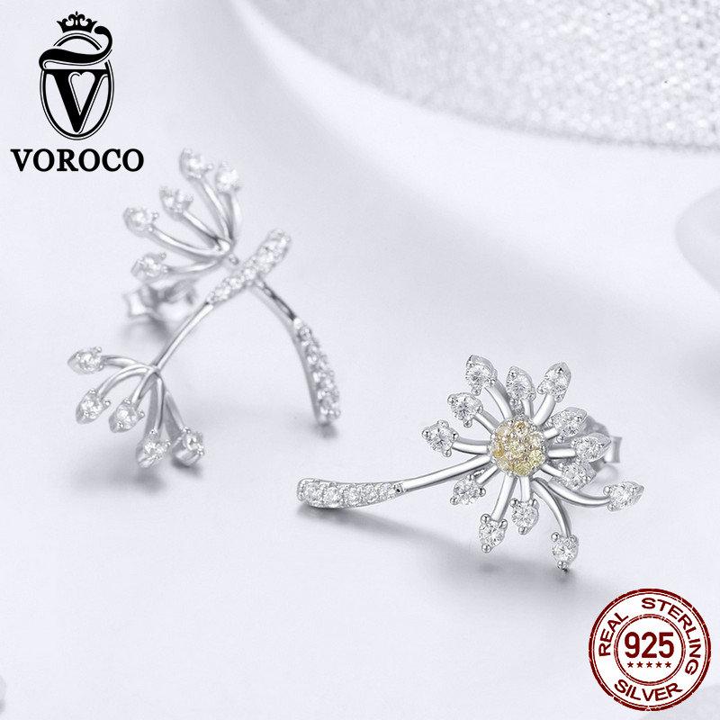 VOROCO Real 925 Sterling Silver Stud Earrings Dandelion Love Bohemia Silver Earrings For Women Engagement Fine Jewelry BKE506 in Earrings from Jewelry Accessories