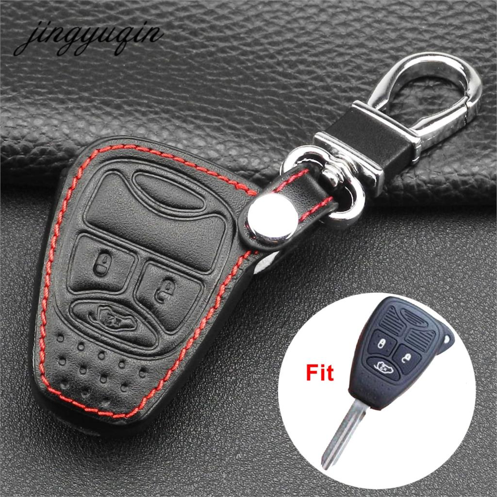 Jingyuqin Leather Case Remote Car Key Cover 3/4 Button For Dodge JCUV Jeep Compass Grand Cherokee Patriot Pacifica Chrysler 300C
