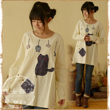 2015 new mori girl fashion and trend Japanese style Spring  cartoon cat fish applique long-sleeve T-shirt