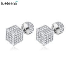 LUOTEEMI Trendy Brass Jewelry Sparkling Cubic Zirconia Ball and Cube Beads Double Side Stud Earrings Brincos