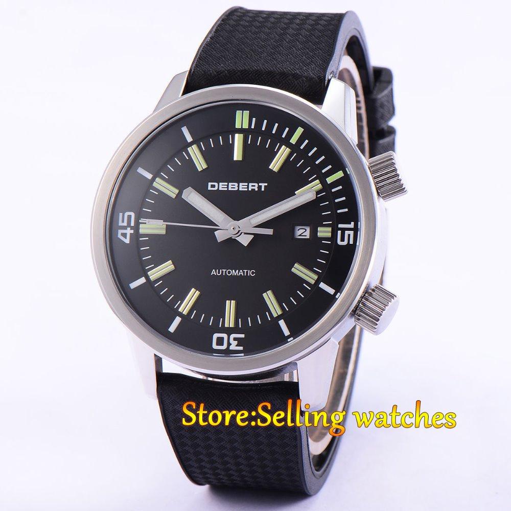 44mm DEBERT Black DIal Rubber Strap Miyota Automatic Men's Wristwatch