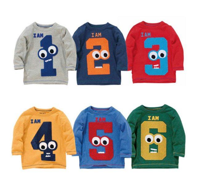 2017 Primavera/Outono 1-6 T Crianças de Algodão de Manga Comprida T-Shirt Do Bebê Das Meninas Dos Meninos Número da Idade Blusa Tops crianças Camiseta Pullovers Tee