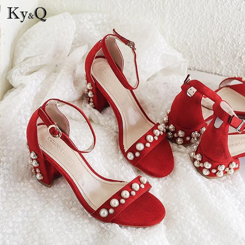 2018 Women Summer Pearl Sandals Open Toe Flip Flops Women's Sandles Thick Heel Women Shoes Korean Style Gladiator Shoes 8cm цена