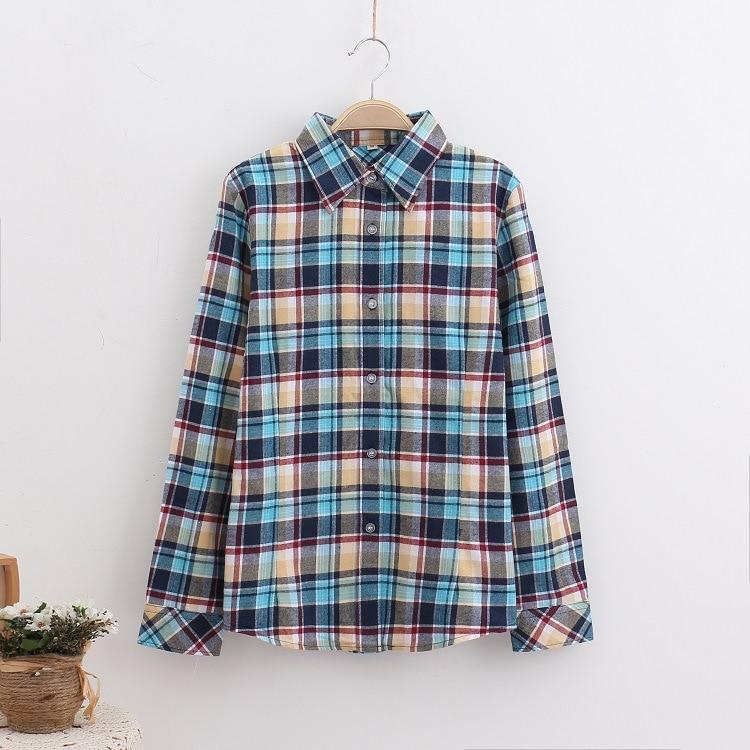 2018 Fashion Plaid Shirt Female College Style Women's Blouses Long Sleeve Flannel Shirt Plus Size Casual Blouses Shirts M-5XL 23