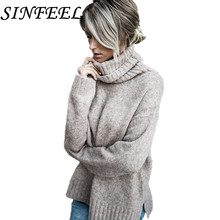 SINFEEL 2018 Brand Fashion Autumn Winter Warm Sweater Turtleneck Long-Sleeve Female Pullover Knitting Sweaters Tops