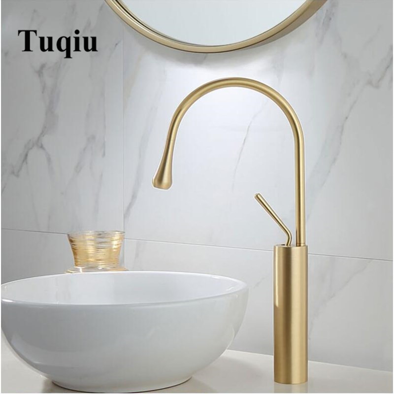 New Basin Faucet Single Lever 360 Rotation Spout Moder Brass Mixer Tap For Kitchen Or Bathroom Basin Water Sink Mixer gold brush-in Basin Faucets from Home Improvement