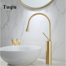 New Basin Faucet Single Lever 360 Rotation Spout Moder Brass Mixer Tap For Kitchen Or Bathroom Basin Water Sink Mixer gold brush(China)