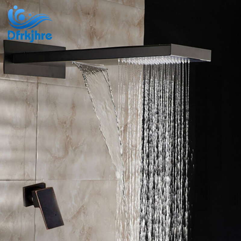 Modern Rainfall Oil Rubbed Bronze Shower Faucet Square Shower Head Single Handle