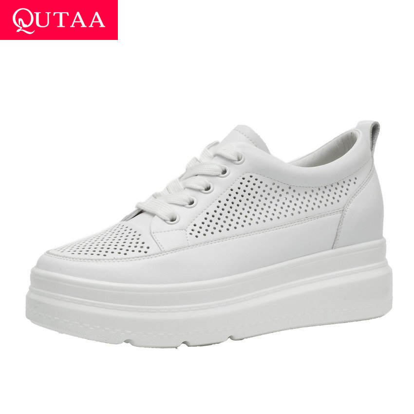 QUTAA 2019 Height Increasing All Match Genuine Leather Round Toe Women Shoes Lace Up Platform Spring Casual Sneakers Size 34-40QUTAA 2019 Height Increasing All Match Genuine Leather Round Toe Women Shoes Lace Up Platform Spring Casual Sneakers Size 34-40