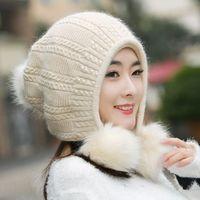 หมวกฤดูใบไม้ร่วงและฤดูหนาวหญิงหมวกถักกระต่ายขนสบายทุกการแข่งขันหวานถัก