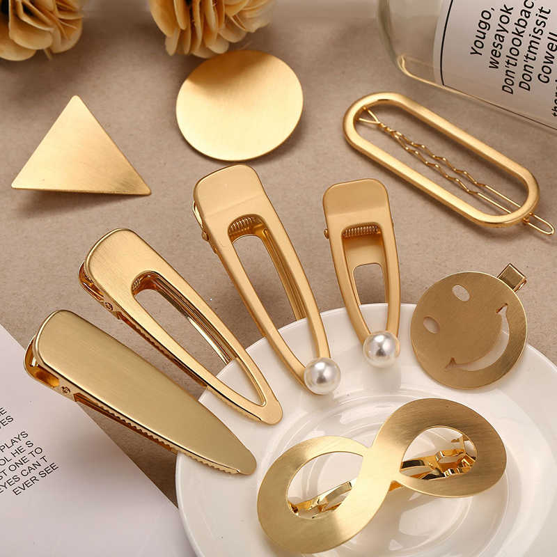Gold Silver Color Metal Hair Clips Women Hairpin Girls Barrette Hairgrip Wedding Accessories Dropship New Arrival 2019