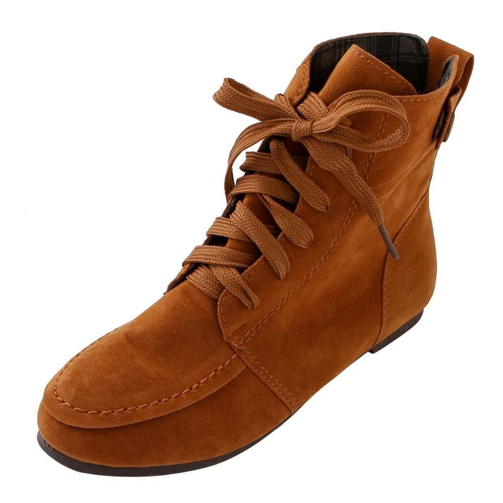 Tangnest Kadın yarım çizmeler Kırmızı Platform Lace Up Flats Katı Yuvarlak Ayak yarım çizmeler Bayan Rahat moda ayakkabılar XWX6766