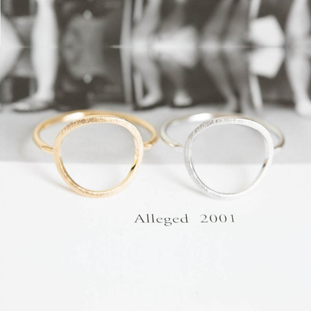 SMJEL Silver Simple Brushed Karma Circle Rings for Women Trendy Round Ring Anel Party Wedding Band Jewelry Bijoux R027