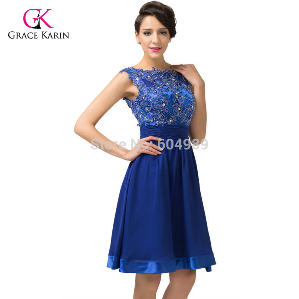 188dfa37135b 2018 Prom Dress Grace Karin Backless Lace Short Royal Blue Chiffon  Homecoming Dresses knee length Prom Dresses for evening 6132-in Prom Dresses  from ...