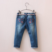 New Arrival Baby Girls Denim Jeans With Belt Kids Spring Autumn Long Pants Solid