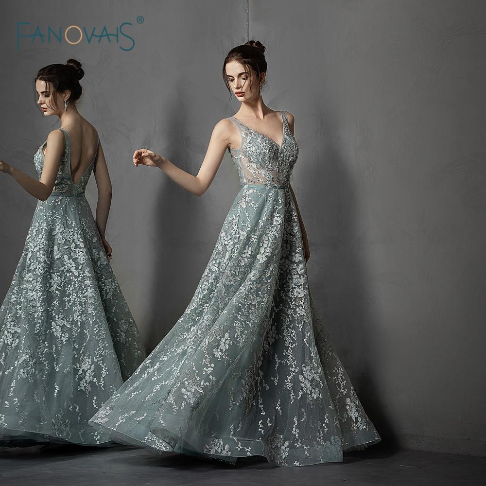 Luxueux Robe de soirée 2019 a-ligne dentelle formelle Robe de soirée v-cou Applique cristal perlé Tulle Robe de soirée Robe de soirée NE73