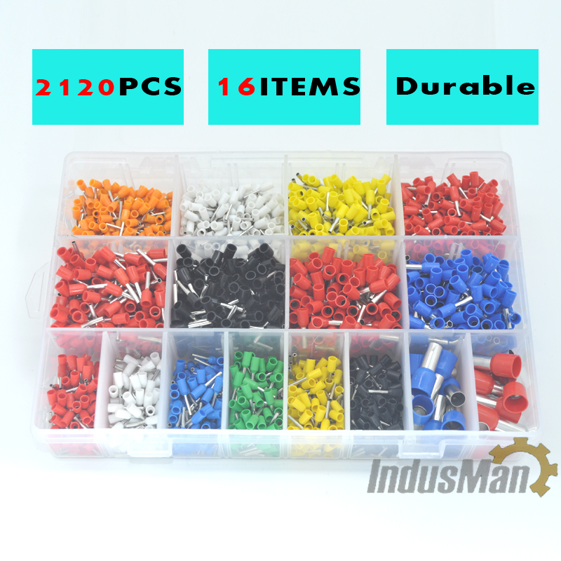 2120pcs/lot Bootlace cooper Ferrules kit  Copper Crimp Connector Insulated Cord Pin End Terminal 800pcs cable bootlace copper ferrules kit set wire electrical crimp connector insulated cord pin end terminal hand repair kit