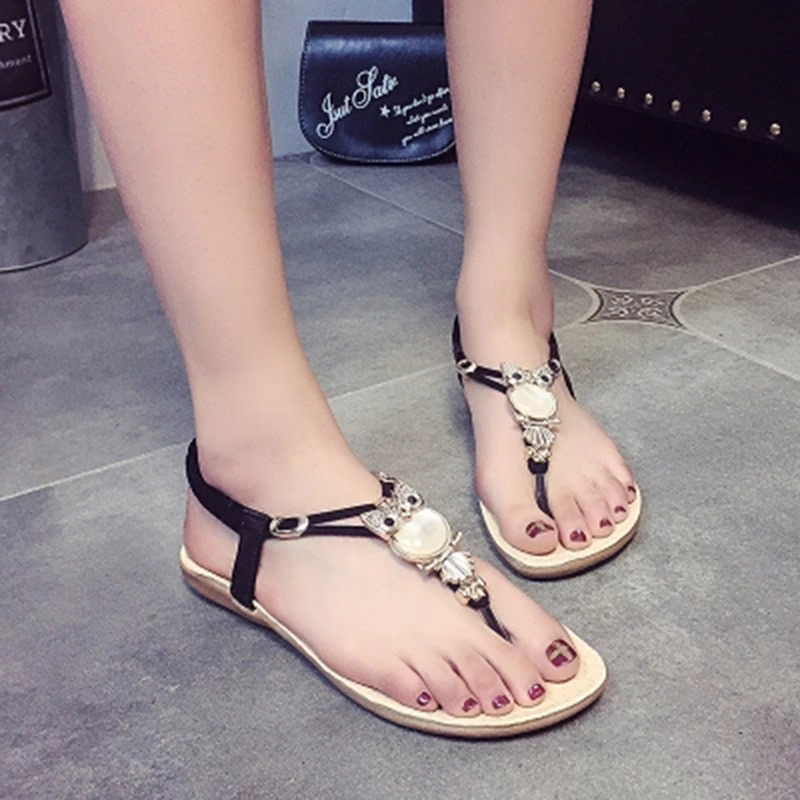 Woman Sandals 2018 plus size Flip Flops summer women beach Sandals Classic rhinestone 35-42 shoes flat sandalia feminina covoyyar 2018 fringe women sandals vintage tassel lady flip flops summer back zip flat women shoes plus size 40 wss765